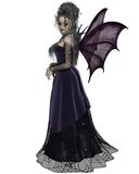 Gothic Fairy in Purple. Gothic style fairy with purple bat wings and dress with cobweb lace, 3d digitally rendered illustration Stock Image