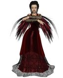 Gothic Fairy in Red. Gothic style fairy with tattered red wings and a red dress with cobweb lace, 3d digitally rendered illustration Royalty Free Stock Images