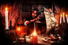 Gothic fantasy. Horned Devil in his home. Fantasy. Ancient style. Halloween Stock Photo