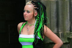 Gothic fashion with hair extensions royalty free stock photography