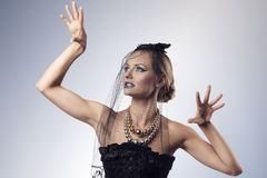 Gothic female with aggressive pose Royalty Free Stock Image
