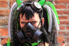 Gothic fetish girl with gasmask Royalty Free Stock Photo