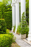 Gothic flower pot in garden. Royalty Free Stock Images