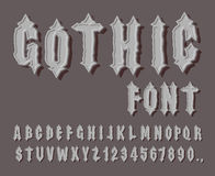 Gothic font. Medieval letter and digit. Awesome Alphabet. Font f Royalty Free Stock Images