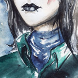 Gothic freak girl with black lips and piercing portrait Stock Images