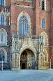 Gothic Portal of Wroclaw Cathedral. Gothic front portal of the cathedral in Ostrow Tumski in Wroclaw (Breslau), Poland stock photography