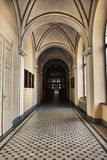 Gothic Gallery. Gray gothic gallery with arc, indoor shot Royalty Free Stock Images