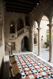 Gothic gallery and inner courtyard in palace. Generalitat de Catalunya dated  15th century. Barcelona, Spain Stock Image