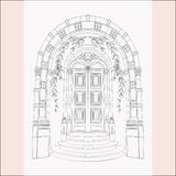 Gothic Gate. Hand Drawn Sketch Vintage Doors. stock image