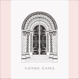 Gothic Gate. Hand Drawn Sketch Vintage Doors. stock photos