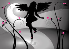 Gothic girl. Silhouette of a girl with black wings Royalty Free Stock Photos