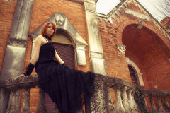 Gothic girl. In the gothic house Stock Photos