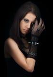 Gothic girl. Beautiful gothic girl on black background Stock Image