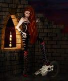 Gothic girl with animal's skull illustration. Royalty Free Stock Image