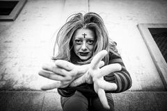 Gothic Girl attacking Royalty Free Stock Images