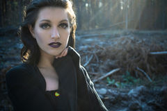 Gothic girl in a autumn forest  in sunshine light Stock Photos
