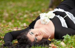 Gothic girl in the autumn park Stock Photo