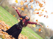 Gothic girl in the autumn park Stock Photography
