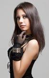 Gothic girl. Beautiful gothic girl portrait on gray background stock photo