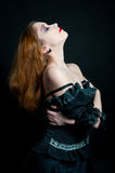 Gothic girl in black dress Royalty Free Stock Images