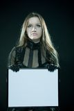 Gothic girl with blank frame Stock Photo