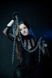 Gothic girl with chains Stock Image