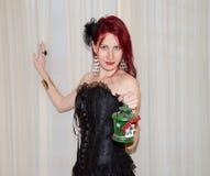 Gothic girl with christmas lantern Stock Photo