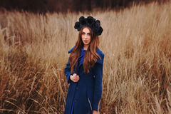 Gothic girl in the field Stock Photos