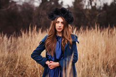 Gothic girl in the field Stock Photography