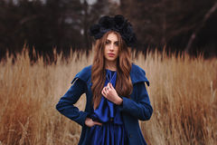 Gothic girl in the field Royalty Free Stock Images