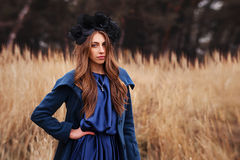 Gothic girl in the field Stock Images
