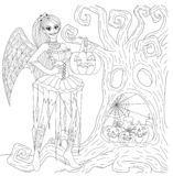 Gothic girl. With Halloween cosplay holding decorative pumpkin standing in front of dry tree with face shape for coloring book, color page for anti stress vector illustration