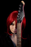 Gothic girl with guitar stock images