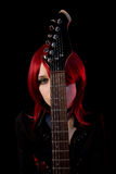 Gothic girl with guitar Royalty Free Stock Image