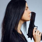 Gothic girl with gun Stock Photos
