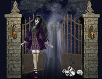 Gothic Girl at Iron Gate Background. Designed to have a dark feel to it. With the moonlight shining down and the stone and iron front gate lighted with rusty vector illustration