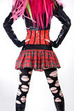 Gothic girl in mini skirt royalty free stock images