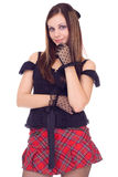 Gothic girl in mini skirt royalty free stock photo