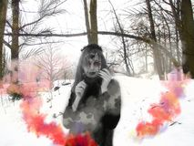 Gothic girl model in winter in dark lenses. And with false purple eyelashes royalty free stock photography