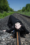 Gothic Girl On Railway Stock Images