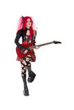 Gothic girl playing guitar stock images