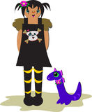 Gothic Girl with Purple Dragon Stock Images