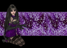 Gothic Girl Purple Starry Background. This gothic girl is topping a puple colored star box. This is a wonderful graphic or background for printing or web design stock illustration