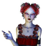 Gothic girl in red dress Stock Images