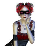 Gothic girl in red dress Stock Photography