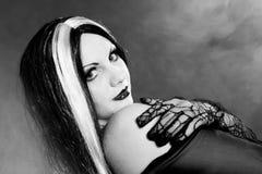 Gothic girl on  smoke background Stock Photos