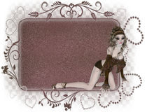 Gothic Girl Tag. Designed with a gothic girl and a brownish/pink tag. This is perfectly designed for a greeting card, website design, scrapbook background or a vector illustration