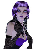 Gothic girl in violet dress Stock Photo