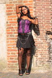 Gothic girl wearing purple corset outside Stock Images