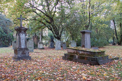 Gothic graveyard. In the autumn Stock Photo